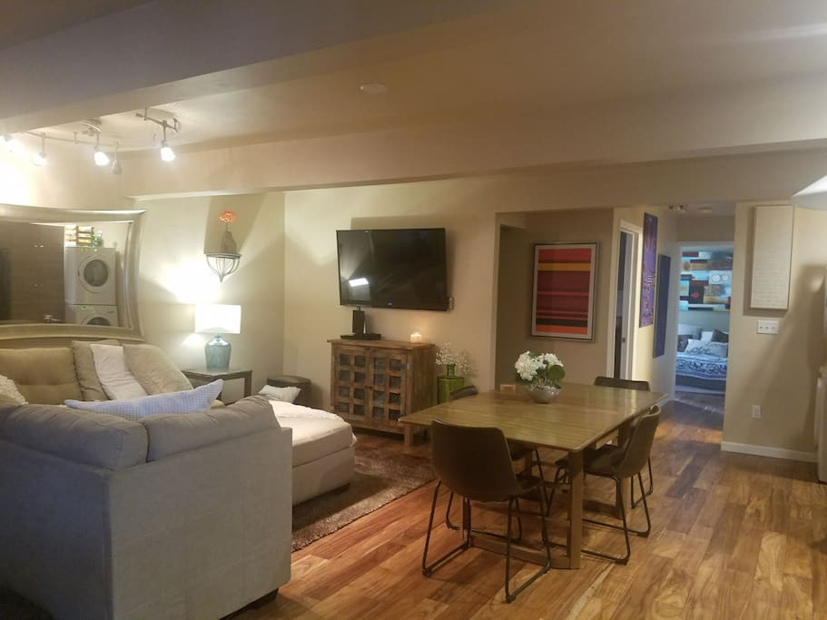 Open floor plan with washer and dyer.