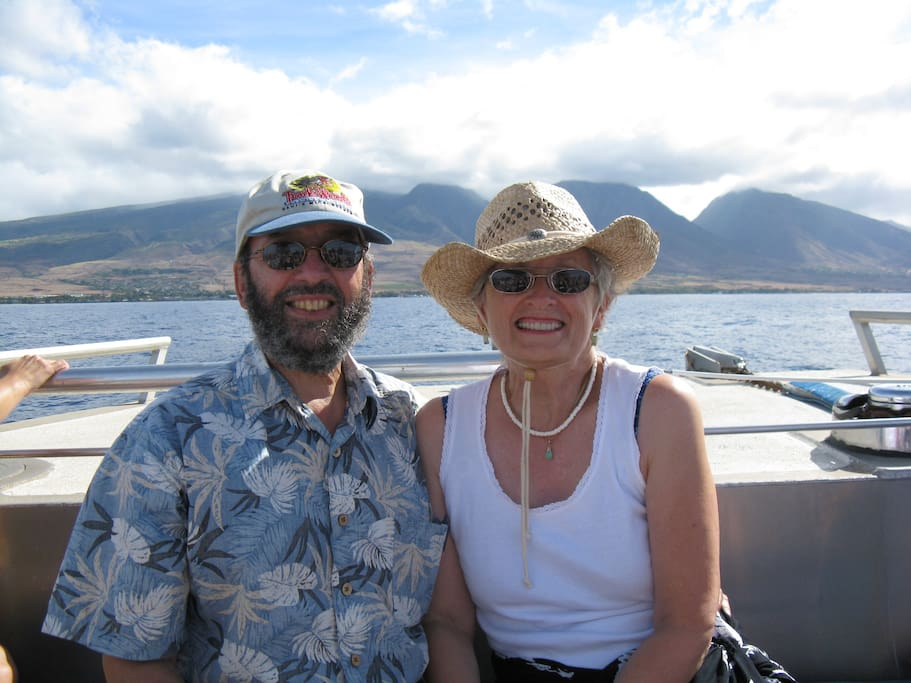Lou & Patty enjoying a Pacific Whale Foundation whale watching cruise.