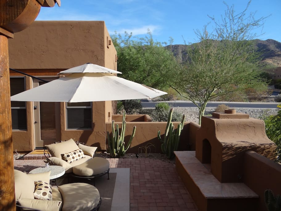 Exterior photo of free-standing casita with private entrance, mountain views.
