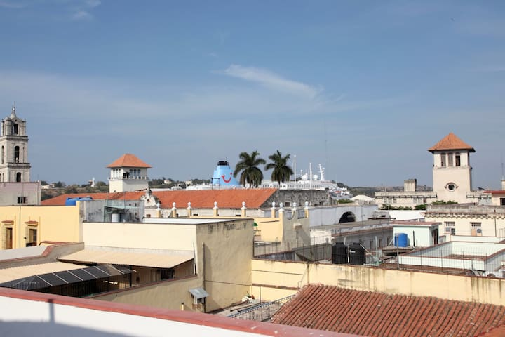 Another roof top view toward the Port of Havana - see the cruise ships day or night