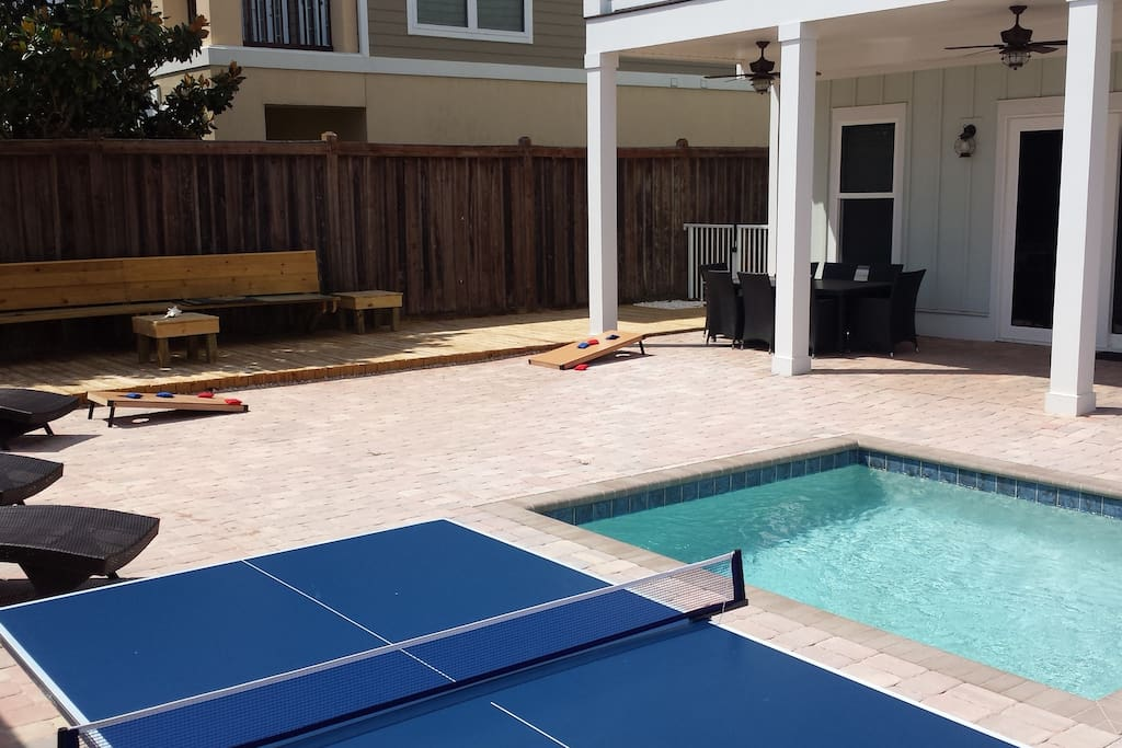 Game time...the competition begins! Ping pong, corn hole, the choice is yours!