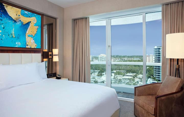 Warm Suite Partial Ocean View One Bedroom At Fort Lauderdale Beach Area