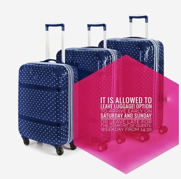 It is allowed to leave luggage, option to arrive early on Saturday and Sunday or leave late for the comfort of guests. Weekday from 14:30.