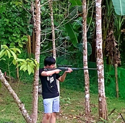 practice target shooting at backyard