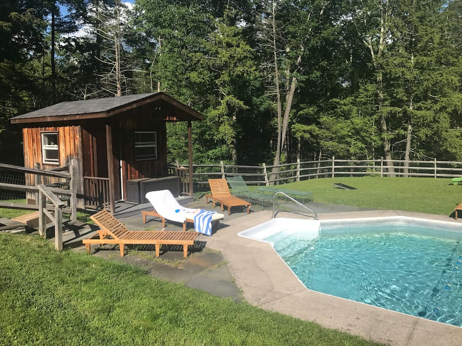 Pool is open through beginning of October! 8 lounge chairs, cushions, pool toys and floats provided!