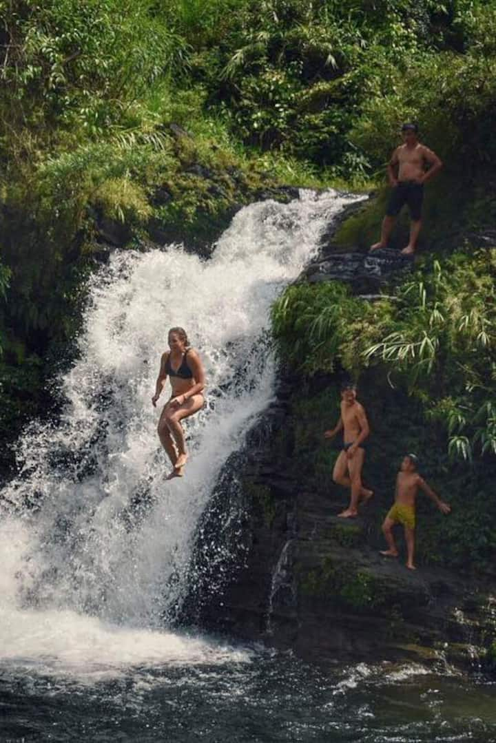 A swim in a waterfall during the 3rd day