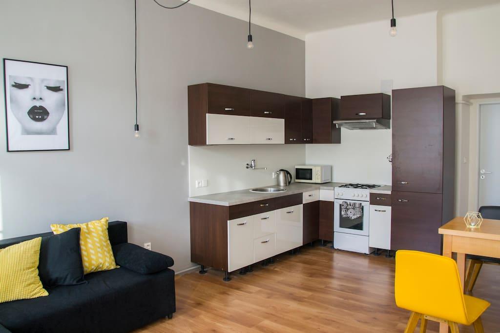 Obývací pokoj s kuchyňí - Living room and kitchen