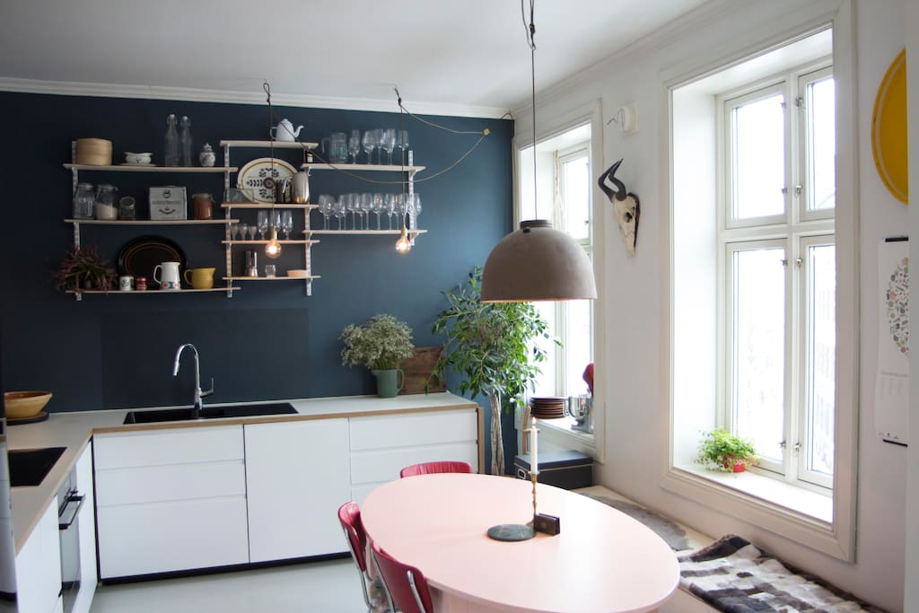 Kitchen - the heart of our home! Cooking, drinking a glass of wine, chatting at our pink table - we love it!