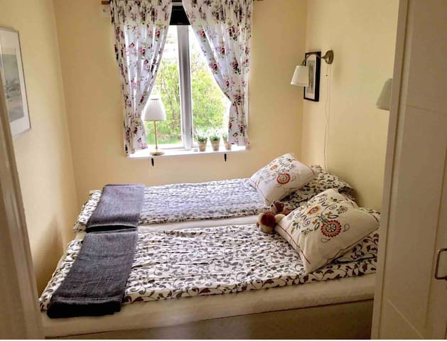 Bedroom with two beds and a closet