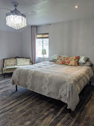 Master Bedroom with new King bed & down comforter