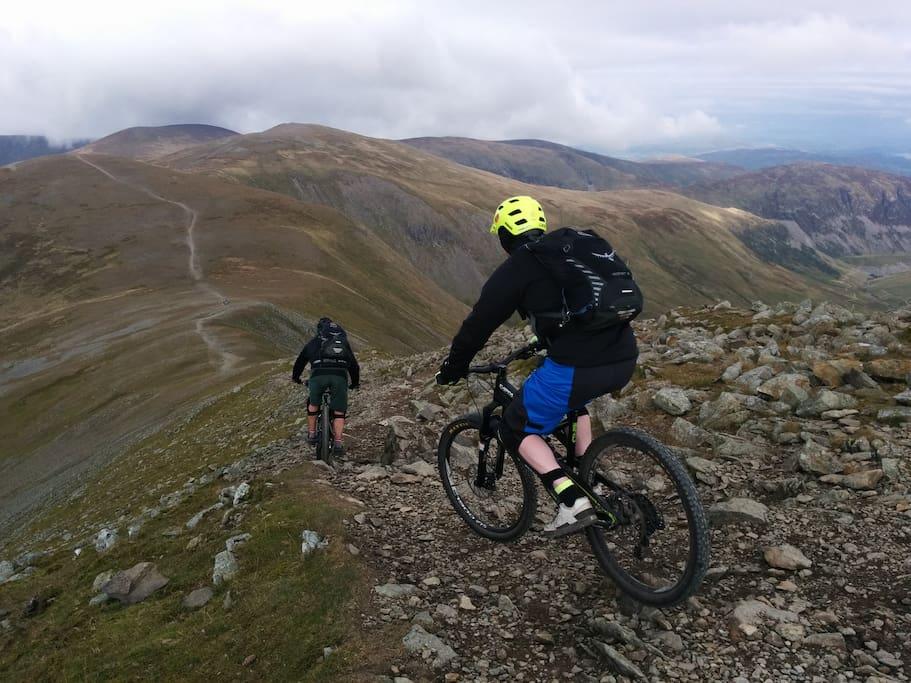 Biking on Helvellyn Ridge