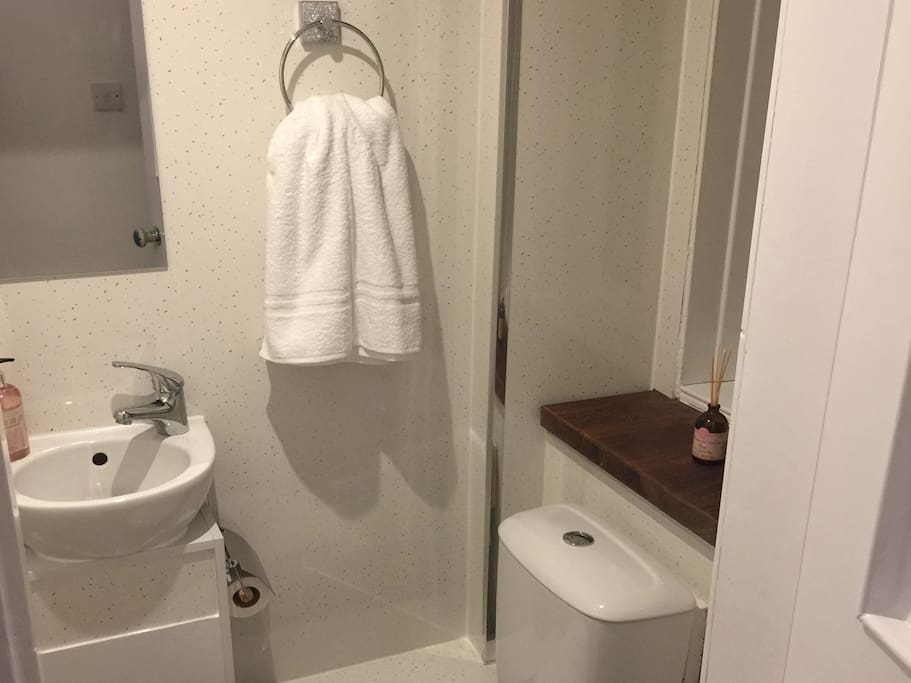 Separate WC with sink.
