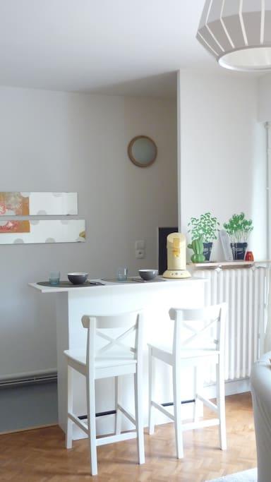 KITCHENETTE EQUIPEE FOUR COMBINE PLAQUES FRIGO CAFETIERE NESPRESSO