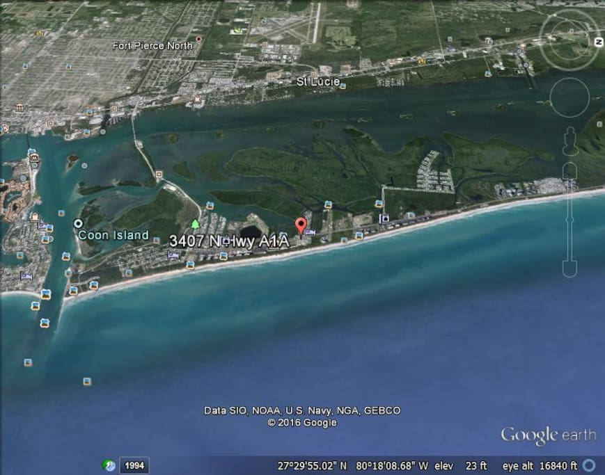 Google earth view, Red dot is the beach house.