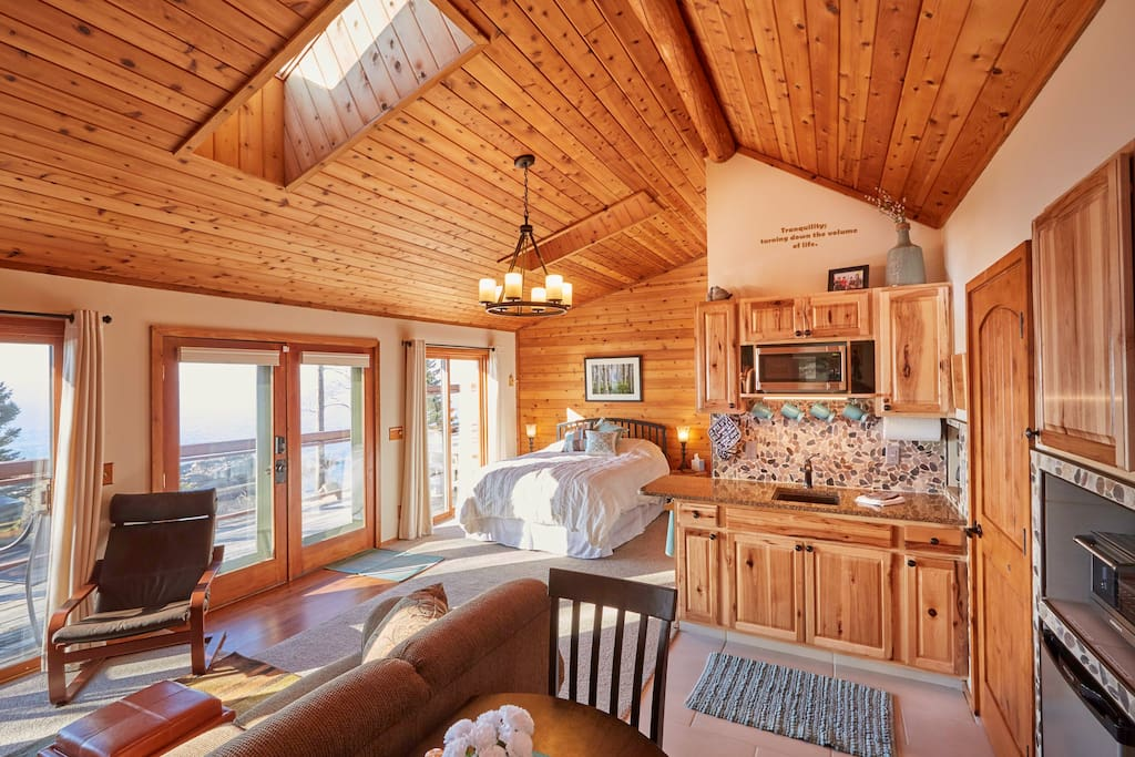 Inside you'll find knotty pine and stunning views.