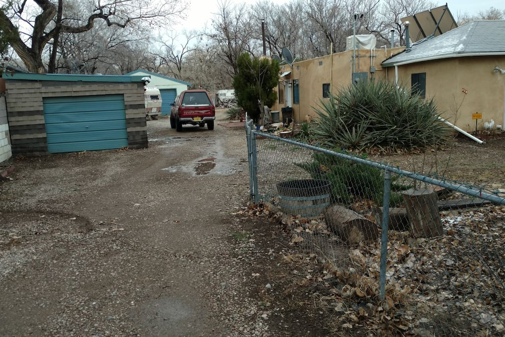 The house and driveway. If you have a large motorhome, trailer or truck there is plenty of off street parking inside a secure gate.
