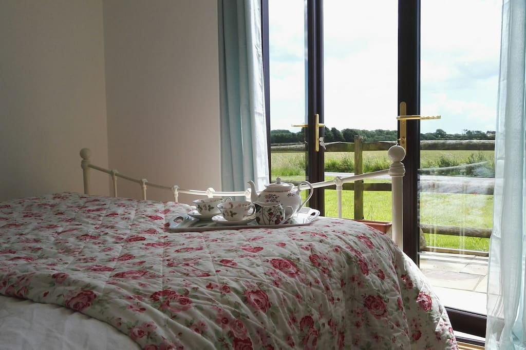 Double room with French doors to view
