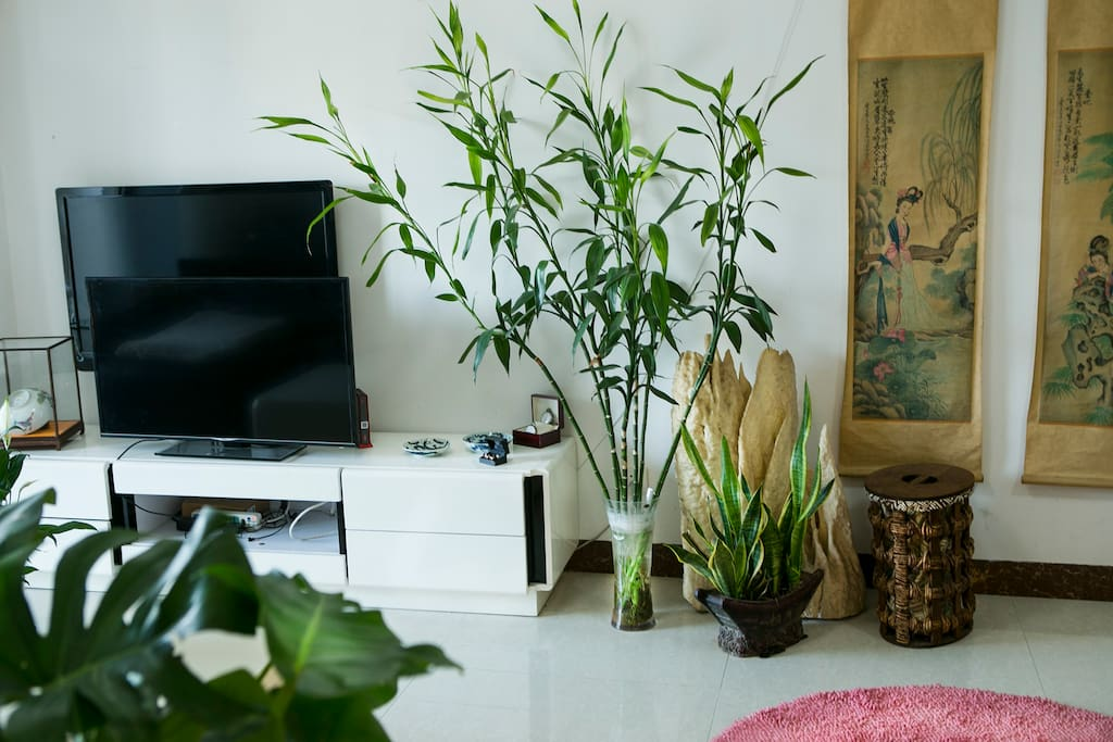 Open fresh and stylish livingroom, with a Traditional Chinese feeling