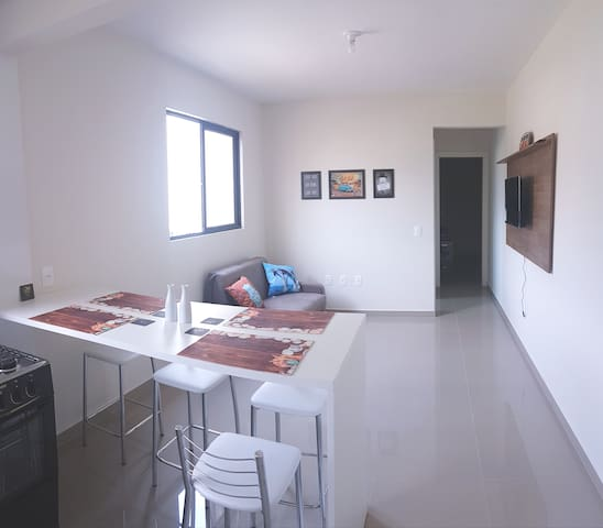 Apartamento novo encantador a 400 metros do mar
