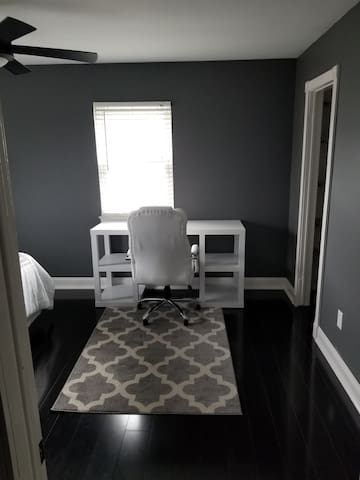 View upon entering room- Desk with chair