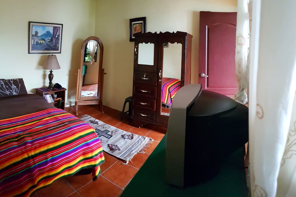 Private one single bed with private bathroom & hot shower.
