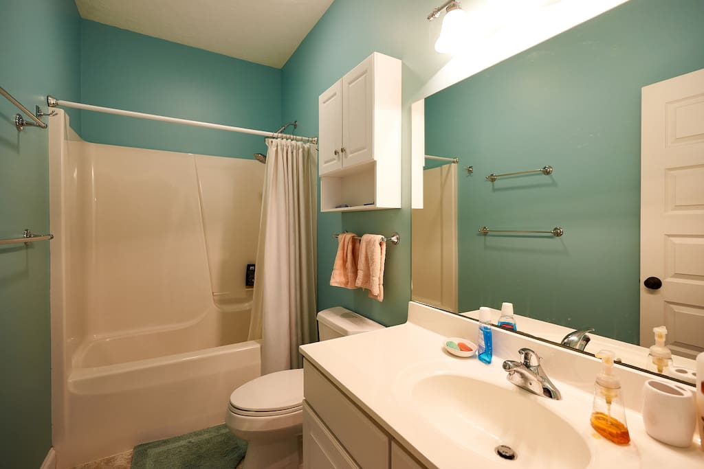 This is the bathroom that is shared with the guests in the twin beds room