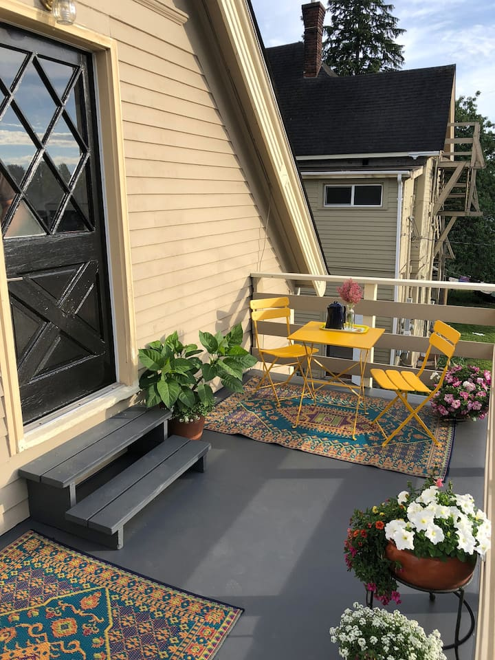 Entry (with electronic lock -no keys!) and porch sitting area