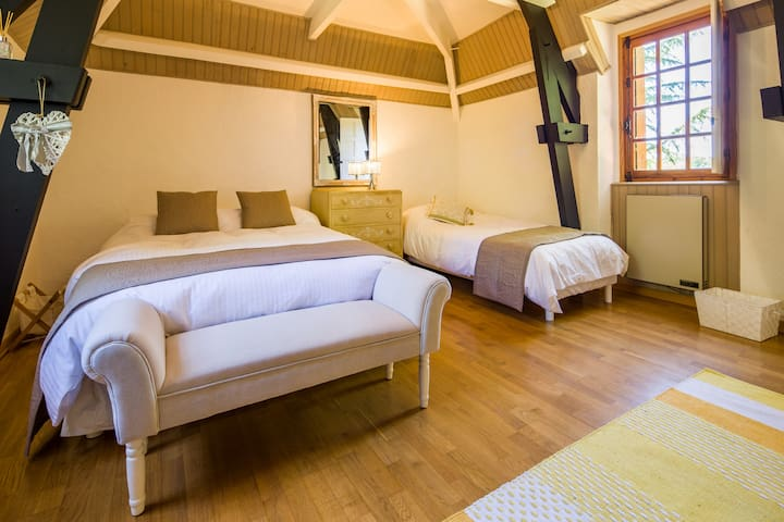 The triple bedroom in the tower with stunning views to the pool and woodland