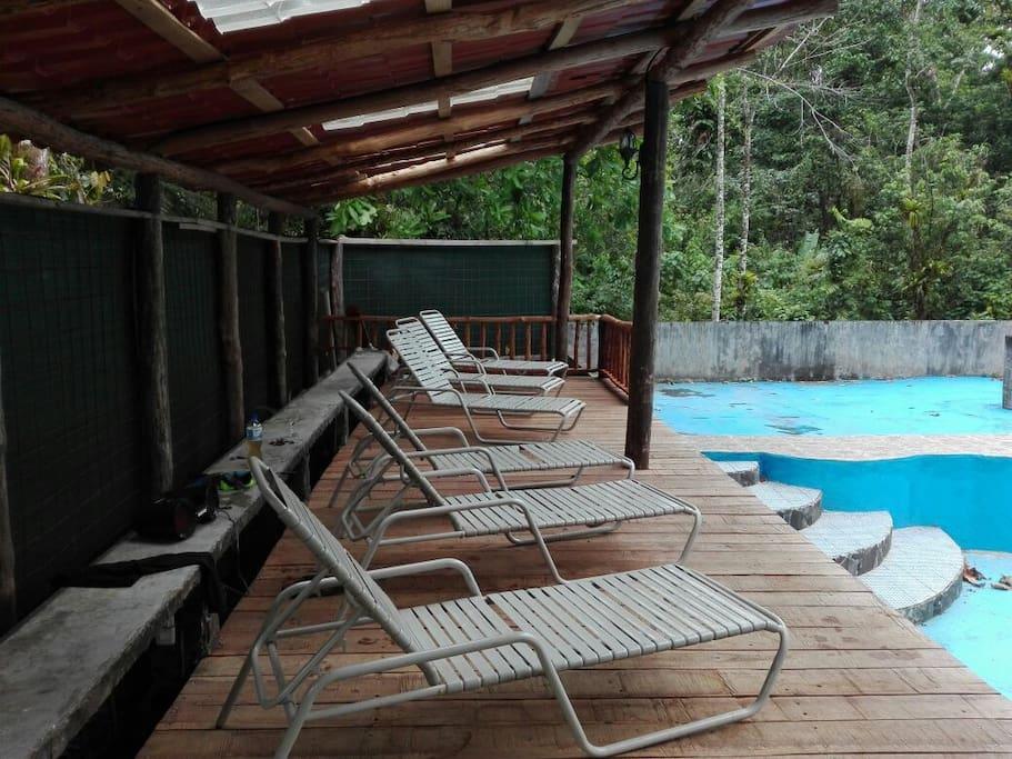 El deck de la piscina es techado y cuenta con 6 sillas, electricidad y una refrigeradora..