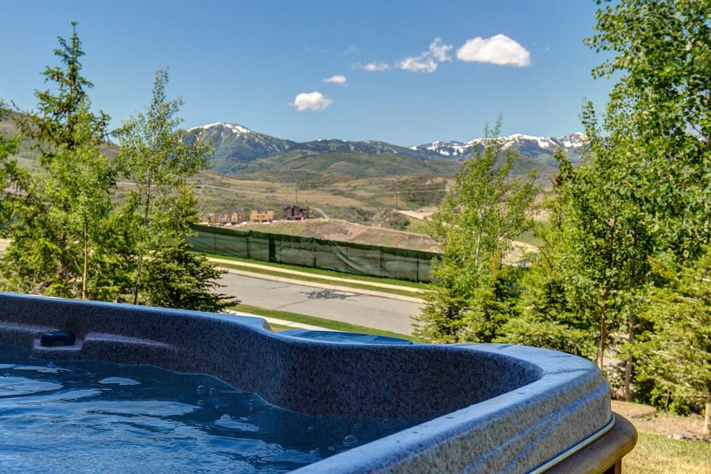 Relax in the hot tub right outside