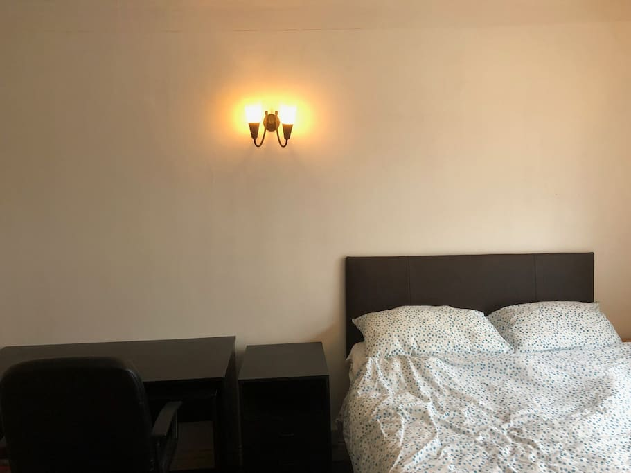 double bed with desk