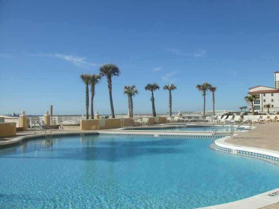 Ocean front,  2 pools, 1 heated during cooler months, hot tub