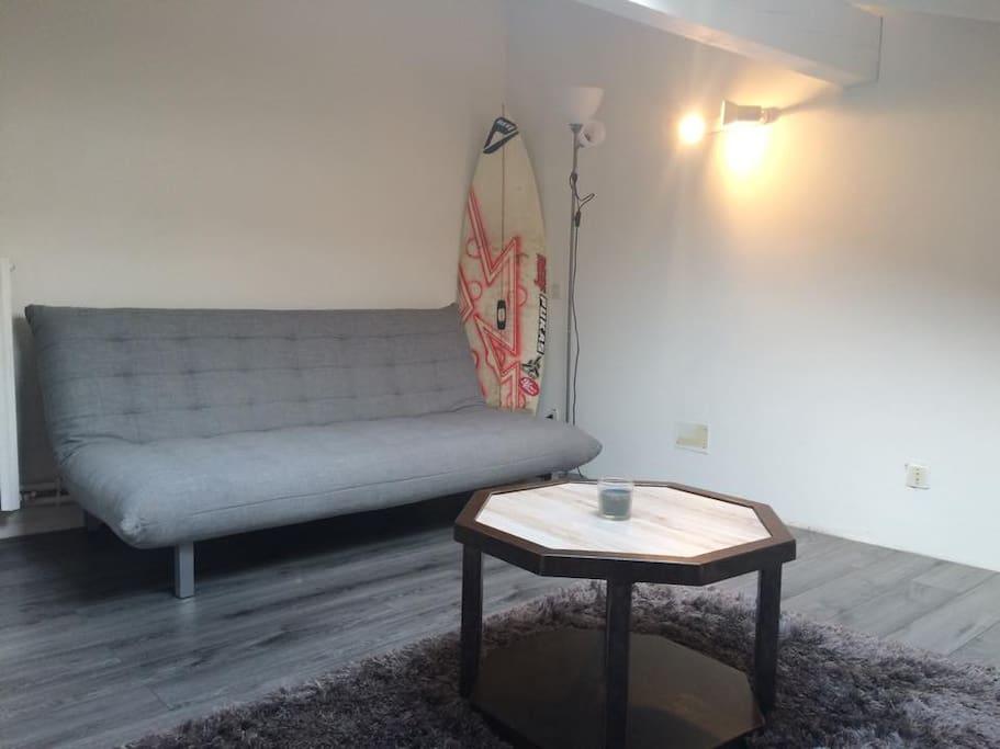 chambre avec canapé lit de qualité  et un vrai lit