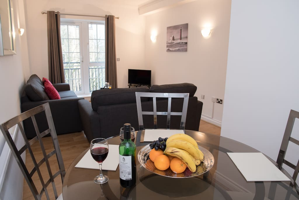 The images provided are of one of a number of apartments we have within Riverside House and so while your apartment may not be identical to the apartment shown, the images provided offer a very accurate representation of the standard and décor of all our apartments.