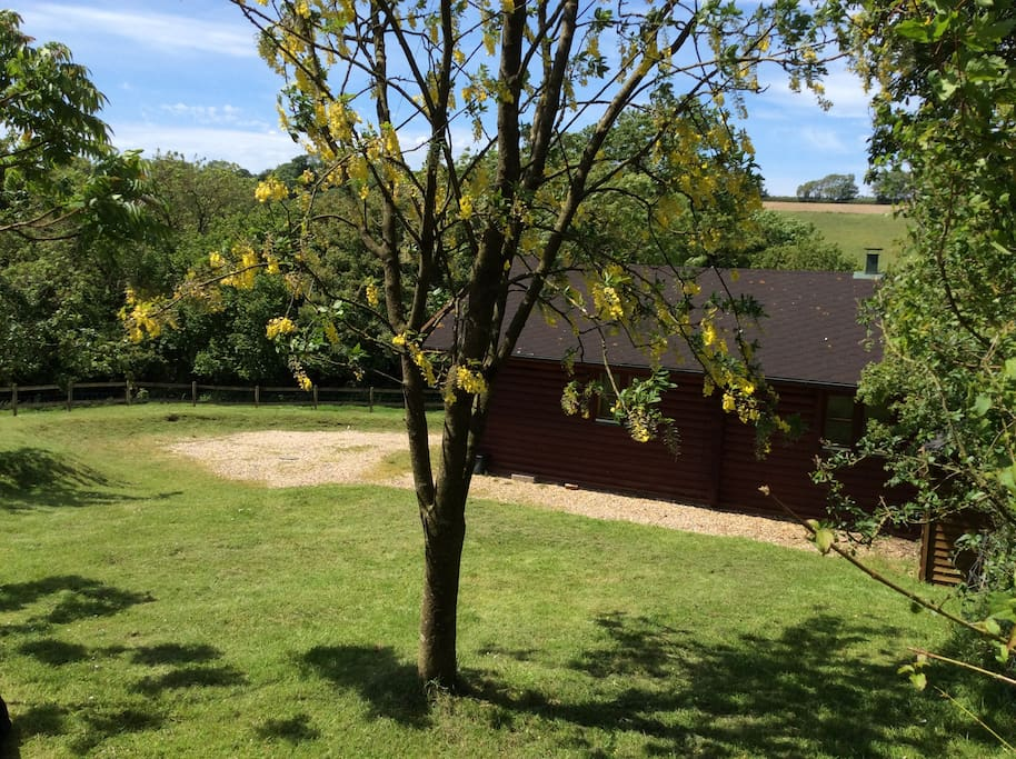 Part of the private secluded large garden with ample parking