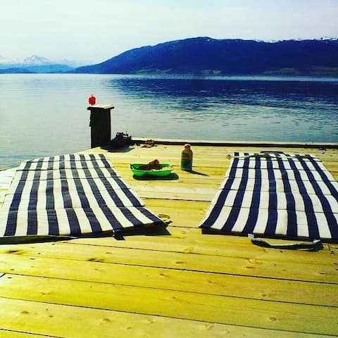 UNIK perle ved fjord - strandlinje - båt