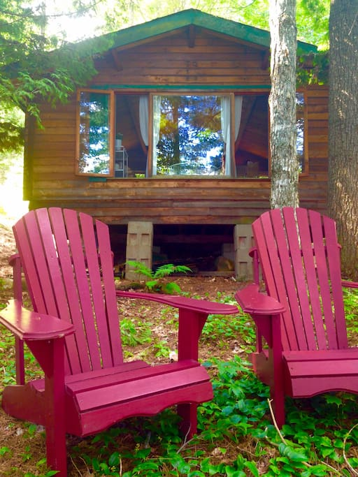 The cabin, built with 100% Red Cedar from B.C. - it's still fragrant!