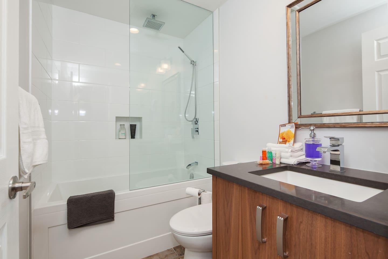 Brand new bathroom with a soaking tub