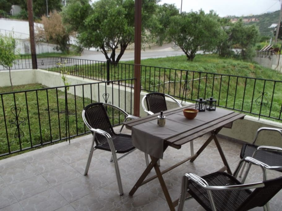at the entrance of the house you can relax and enjoy your coffee.