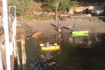 The beach beside the dock is a great place to enjoy year-round! We have kayaks and paddle boards available. The bay is a wonderful place to explore!