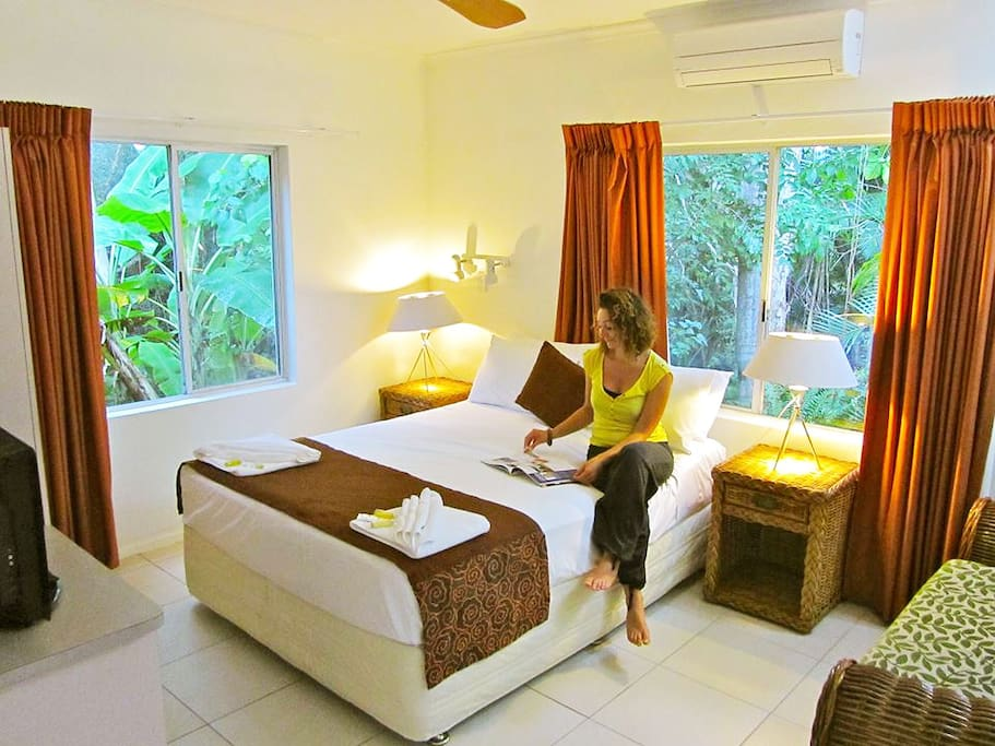 Our rainforest villa has superb views of the adjoining rainforest