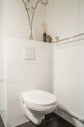 Brand new toilet with water saving flush system, chemical free toilet paper & heated towel rack.