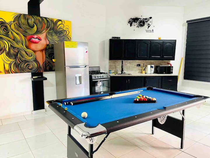 Modern Studio with pool table