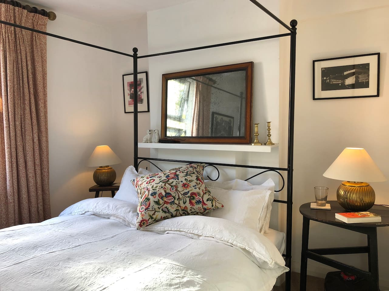 Bedroom Upstairs with Period Furniture and William Morris Textiles