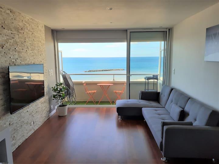 Appt T3, vue mer panoramique, accès direct plage