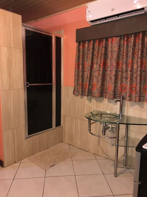 Sink area and shower in double room