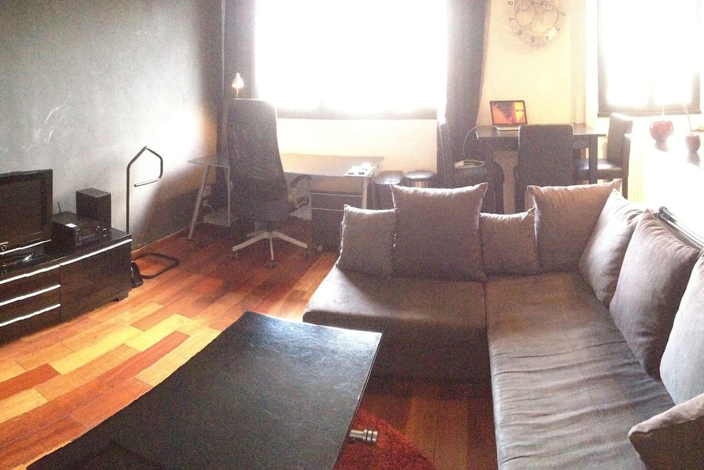 Salon confortable; vrai bureau; baie vitrée baignant tout le studio de lumière