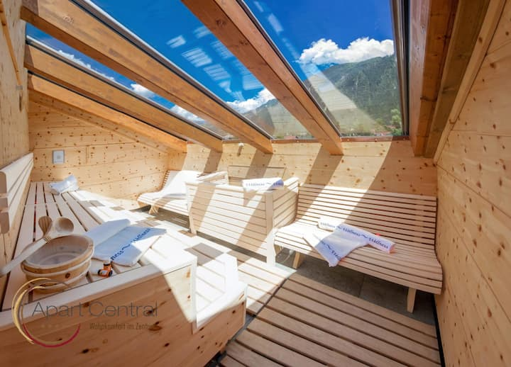 4br penthouse suite with sauna, next to ski lift