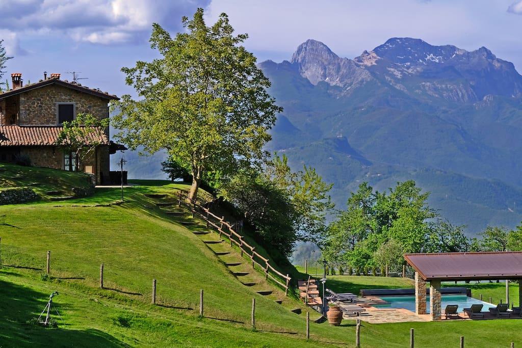 Villa, pool and Apuan Alps.