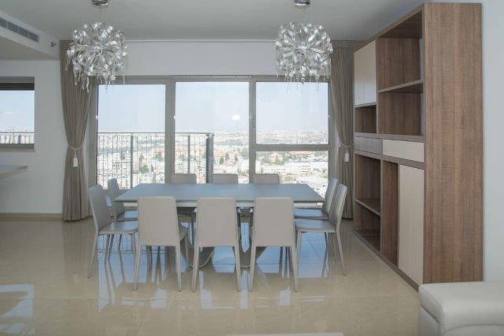 Beautiful dining room overlooking the city